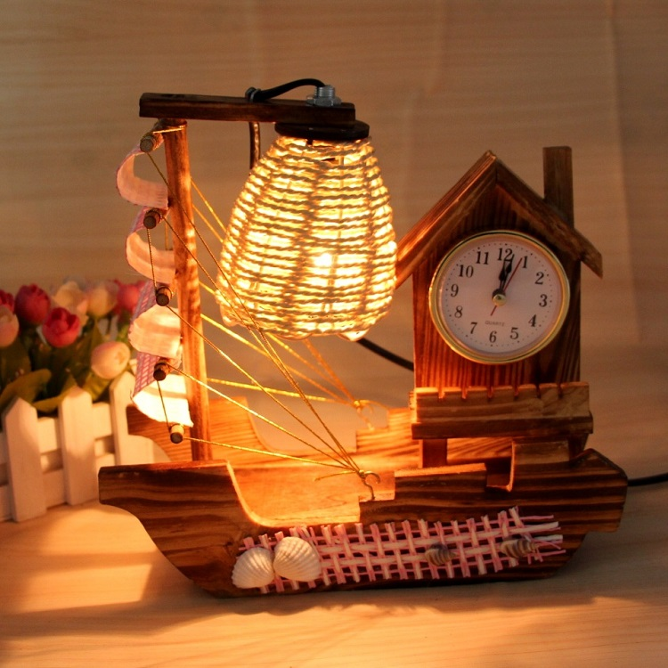 Creative clock sailing desk lamp Vintage straw small night lights wholesale manufacturers selling a undertakes