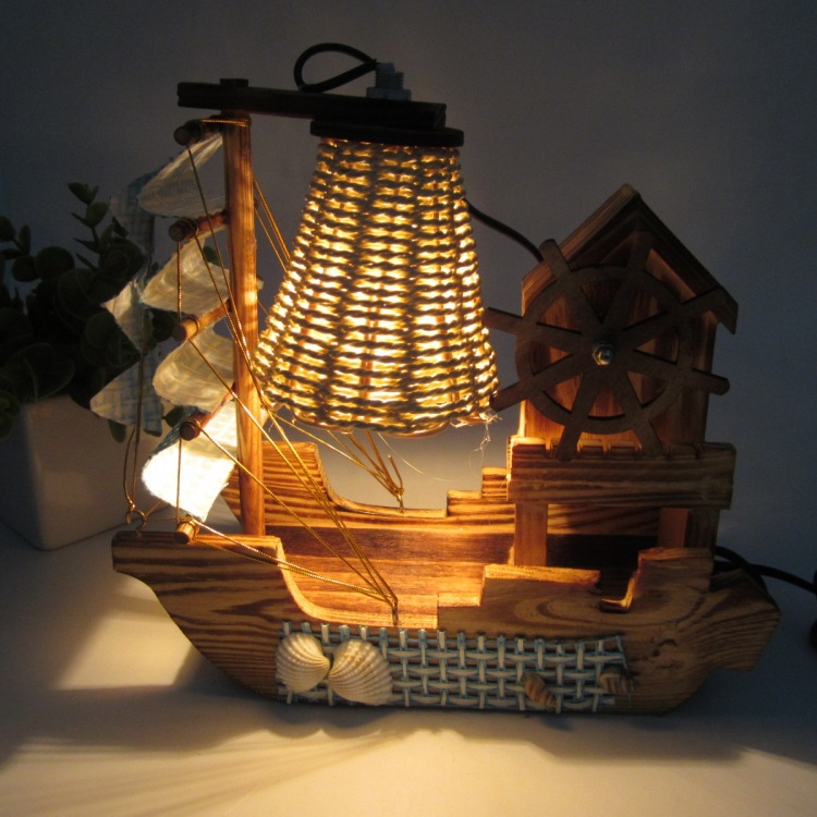 The wooden windmill music box of sailing desk lamp