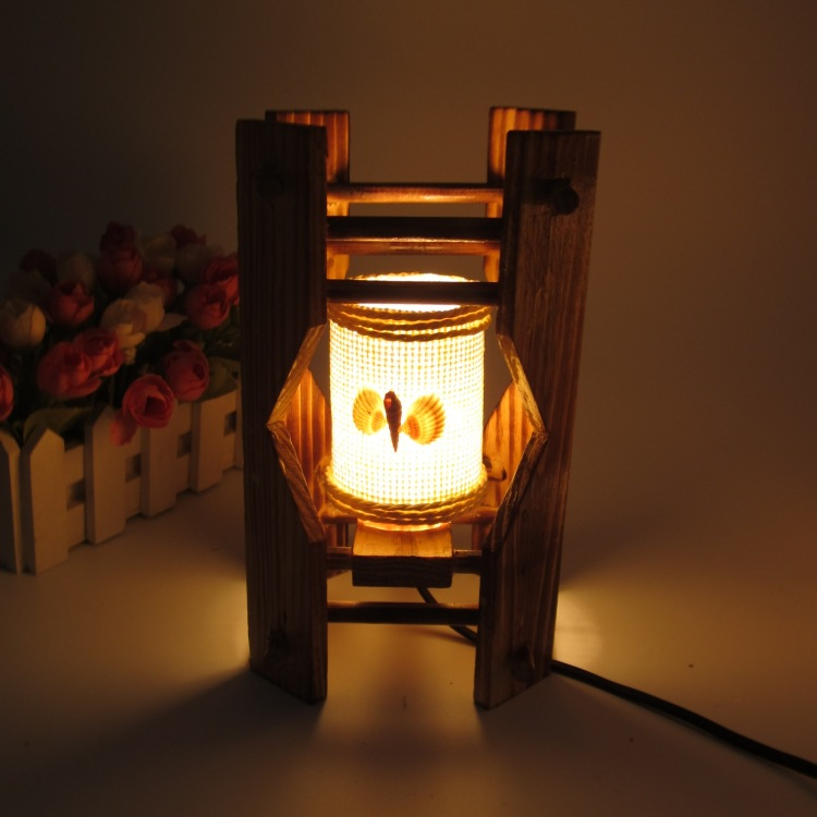 Vintage wooden desk lamp