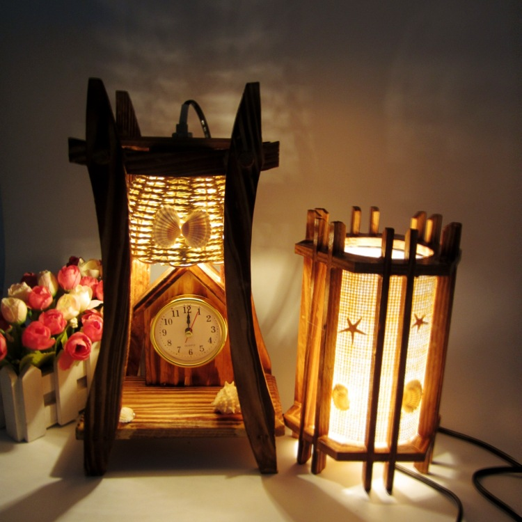 Wooden clocks desk lamp