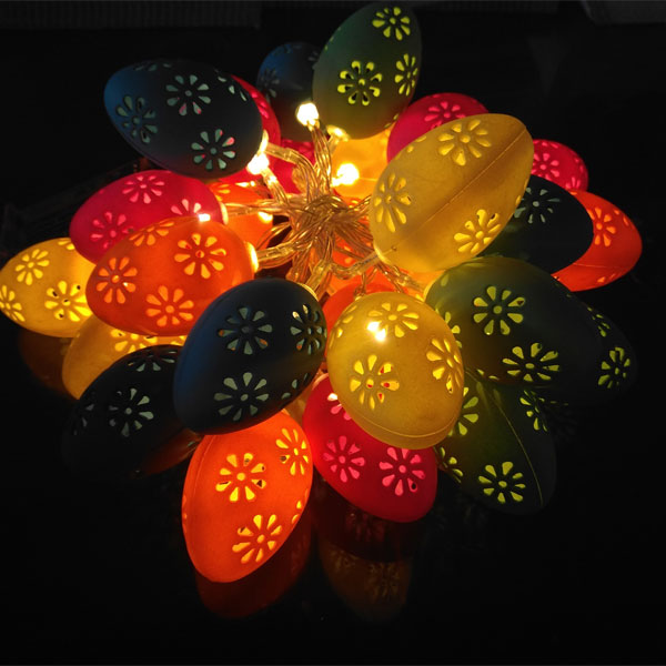 Hollow out  10 Led plastic Easter Egg string Light Led Fairy Lights Warm White christmas Decoration Light